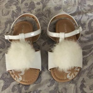 Laura Ashley fuzzy Pom shoes